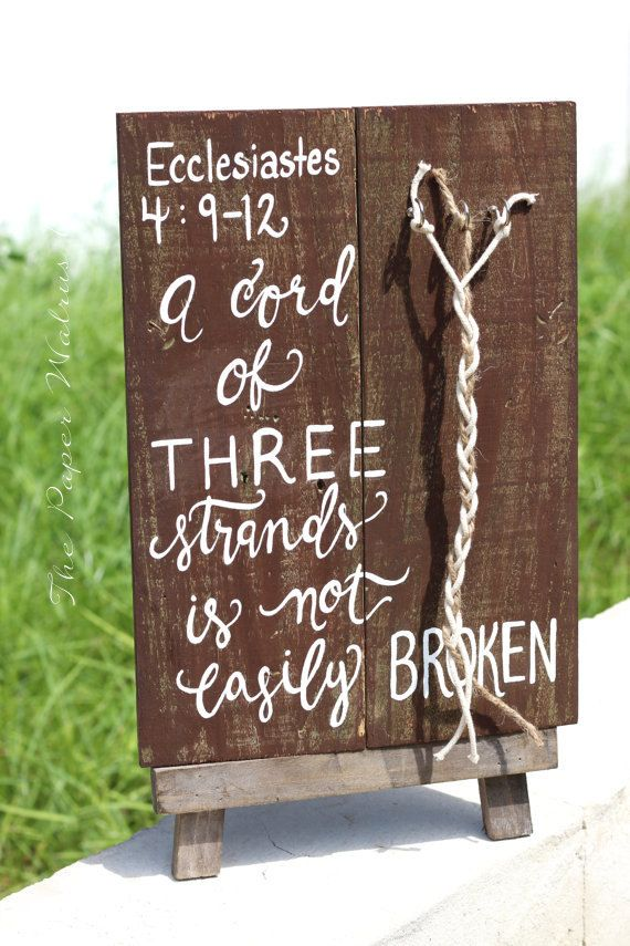A Cord Of Three Strands Sign Rustic Wedding Signs Three