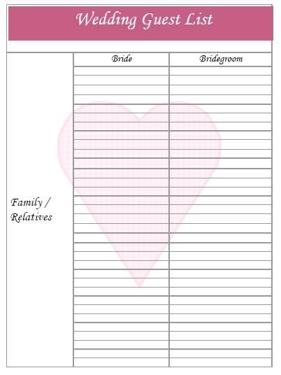 Template For Guest List printable professional fax cover sheet – Sample Guest List