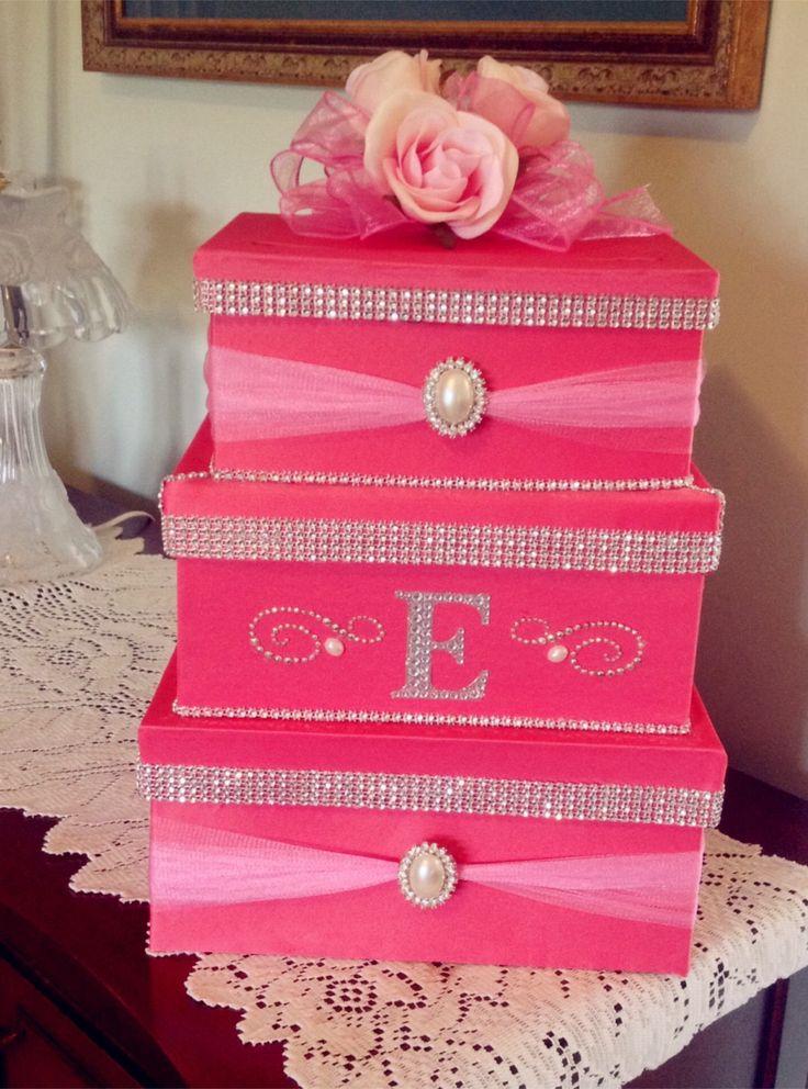 2014 hot pin wedding card money box, pink flowers wedding