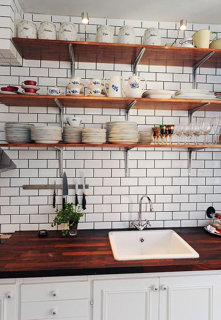 Lovely kitchen, open shelves, butcher countertop, white