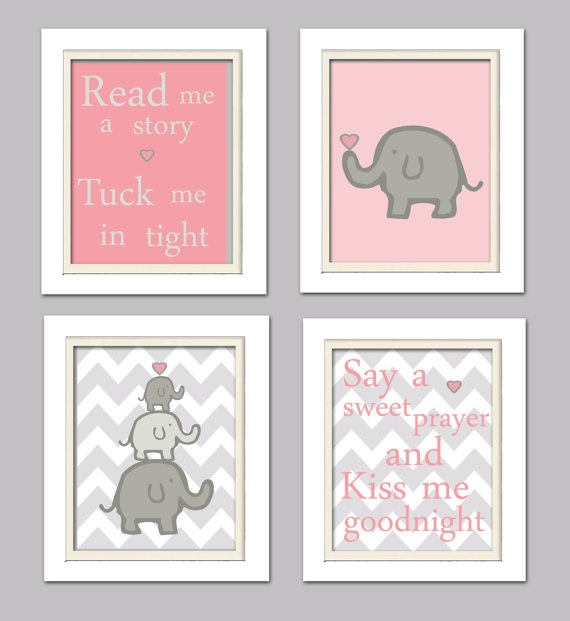 Nursery Quad Pink and Grey Nursery Elephant Nursery by ChicWallArt, $37.00