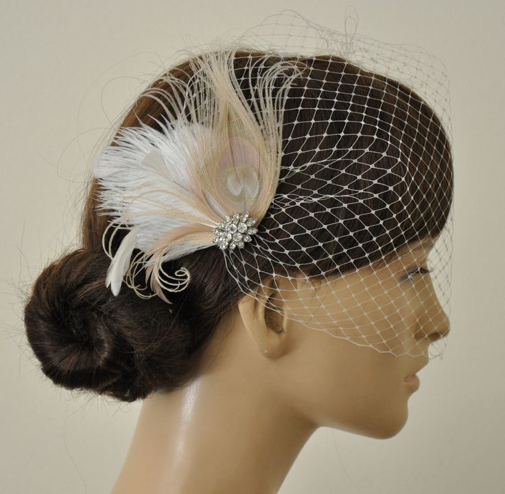 Birdcage Veil Champagne Peacock Feathers Fascinator2
