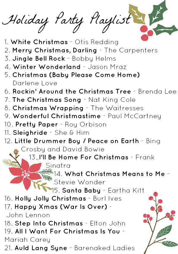 Free printable holiday playlist + more Christmas songs on