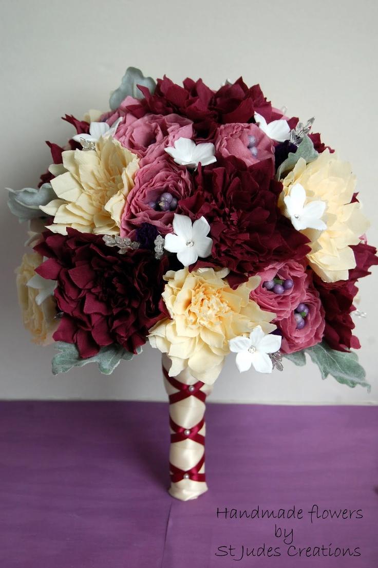 paper flower wedding bouquet burgundy fall colors,160