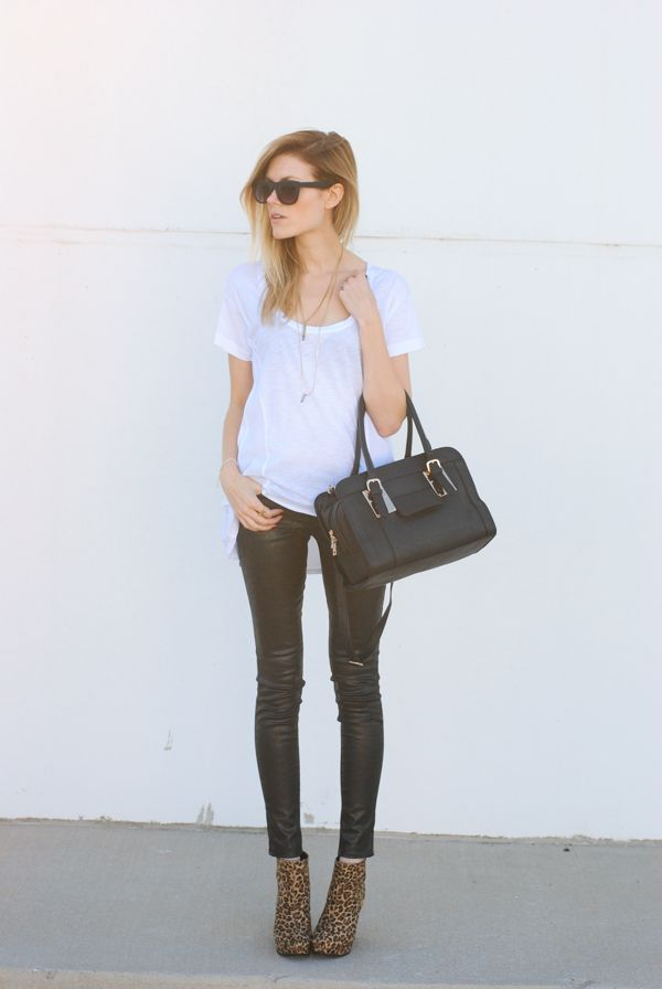 back to basics. – Love, Blair. coated black skinnies and a touch of leopard.