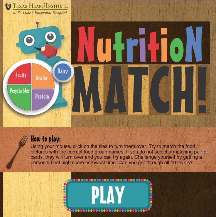 """Nutrition Match!"" online health game for kids by Texas"