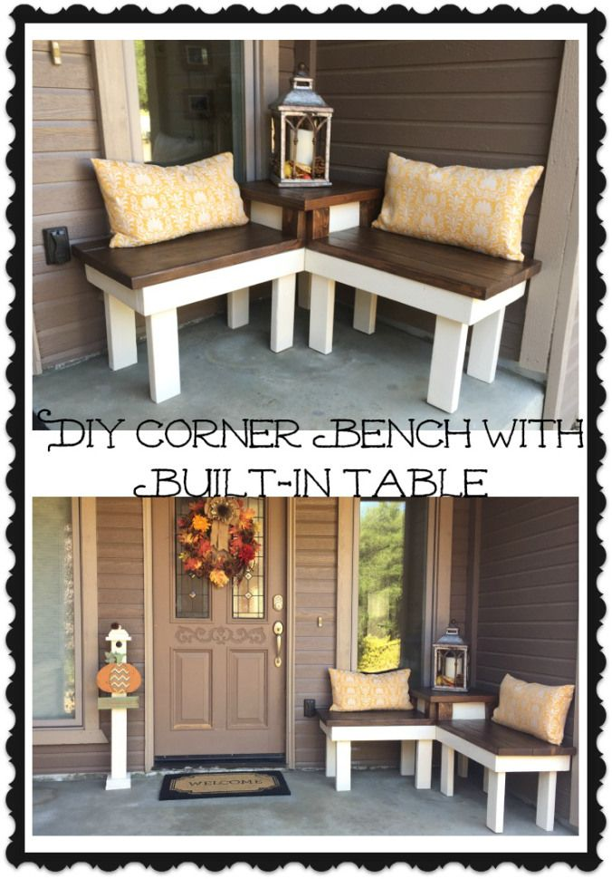DIY Corner Bench with Builtin Table Tables, Benches and