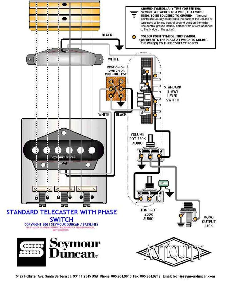 Tele Wiring Diagram with phase switch Telecaster Build