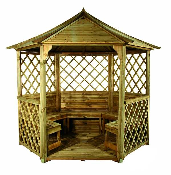 Elgin Gazebo, with seating, and solid floor. (10 Year