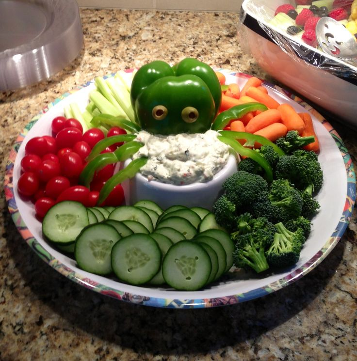 Octopus veggies for nautical theme baby shower.
