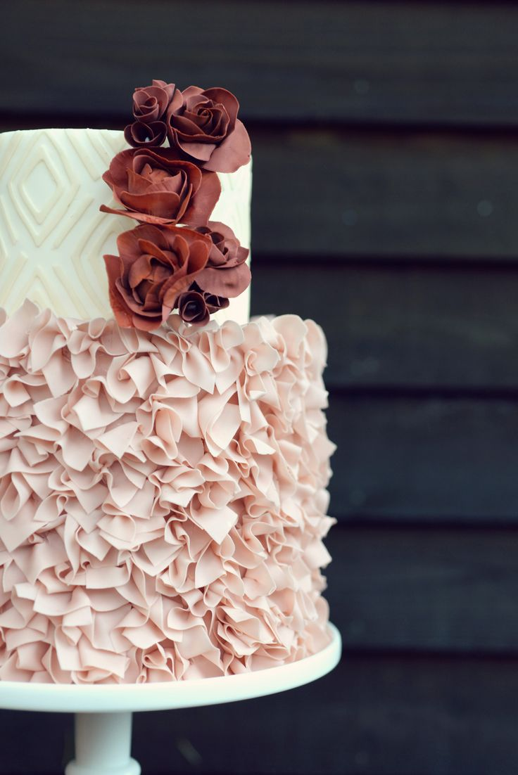 Fun Confetti Style Ruffles In Blush On A Small Two Tiered