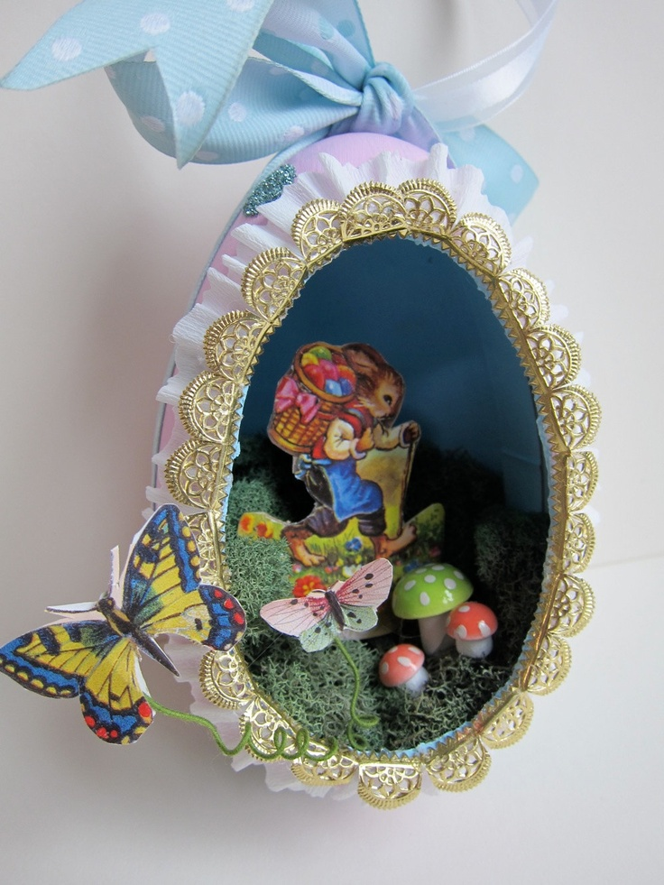 OOAK Easter Egg Diorama Ornament Vintage Style Papier