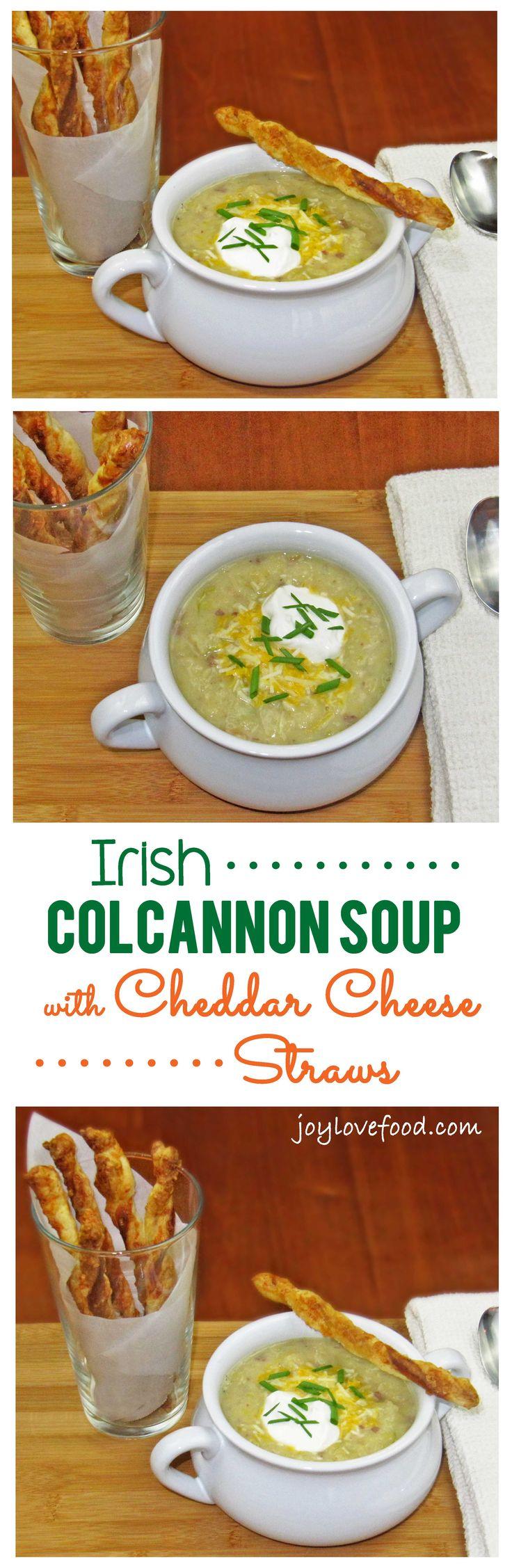 Irish Colcannon Soup with Cheddar Cheese Straws Recipe