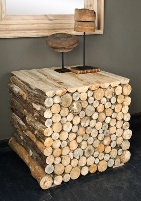 Rustic table made from stacked wood