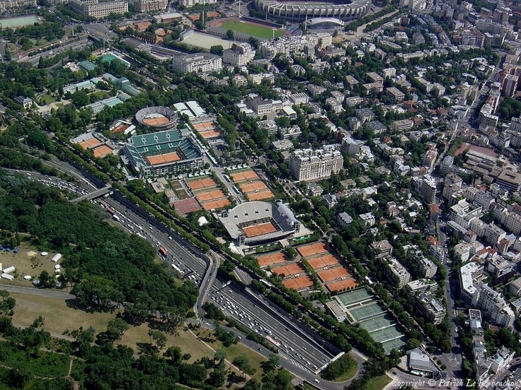 Stade Roland Garros, taken from the bird's eye view. Who