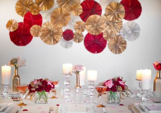 Gold Red And Silver Paper Wall Decor Tapered Glass