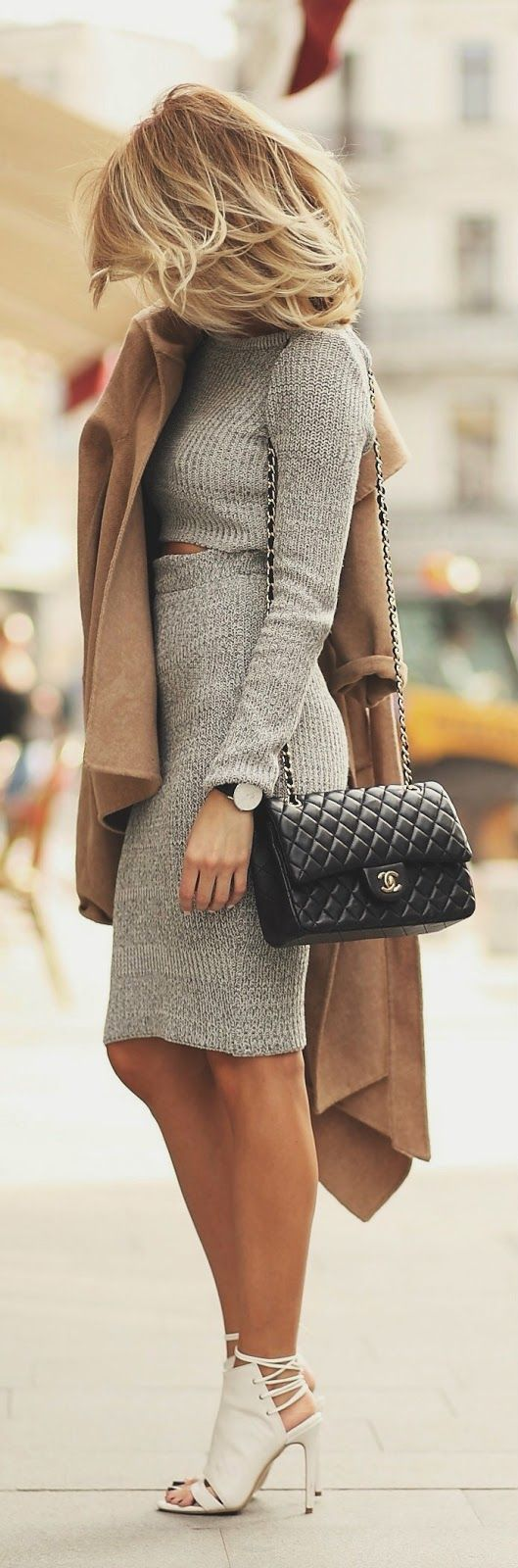 camel coat, grey knit dress, Chanel bag & white bootie heels #style #fashion: