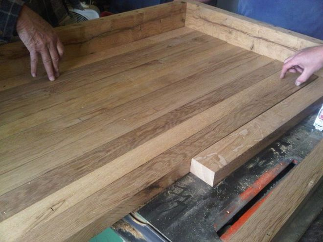 Country kitchen with diy reclaimed wood countertop
