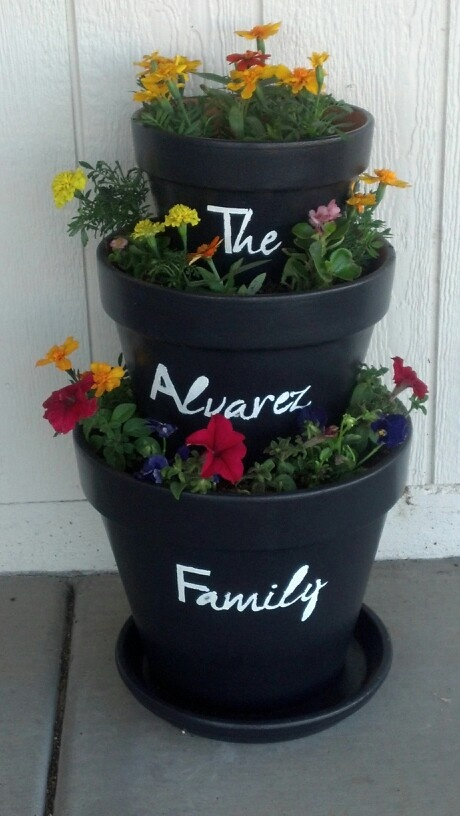 My very own stacked flower pot...SO much fun to make