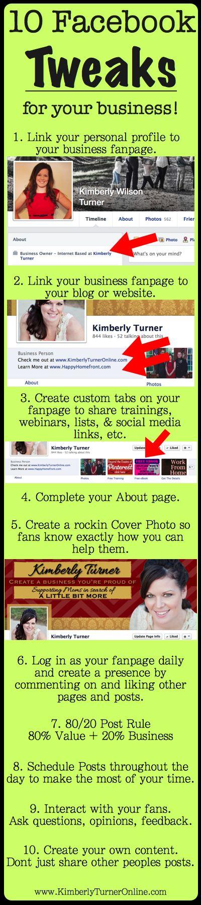 10 Facebook Tweaks for your Business