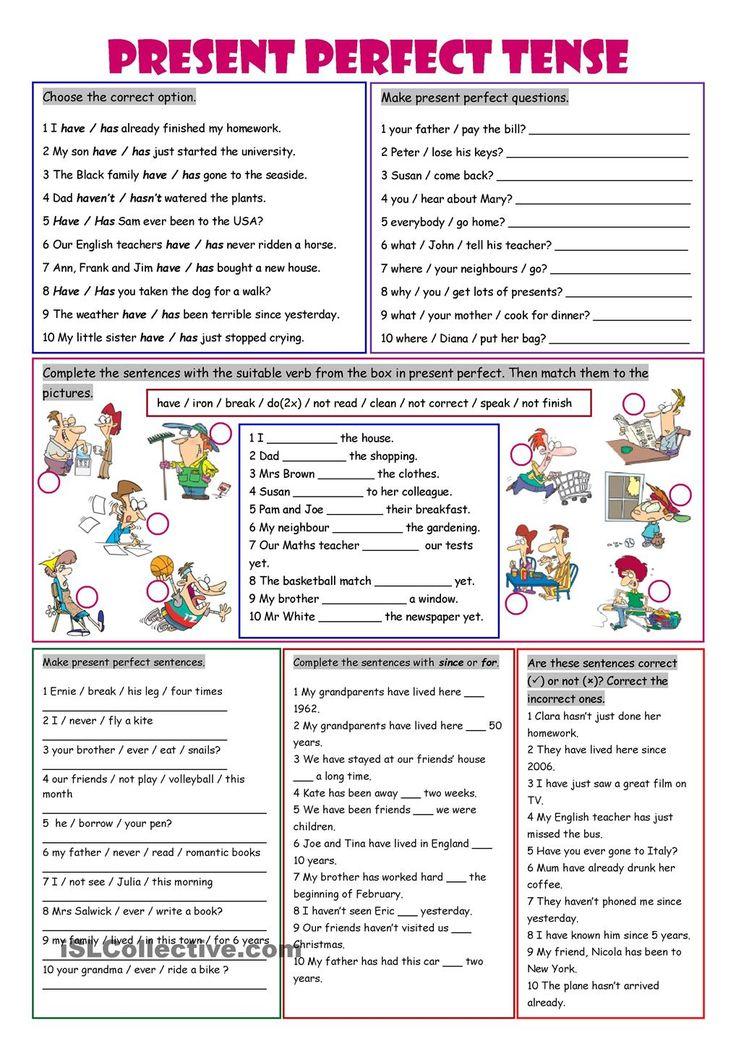 Present Perfect Tense English learning Pinterest