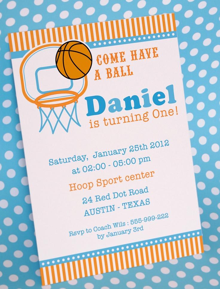 DIY PRINTABLE Invitation Card Basketball Birthday Party