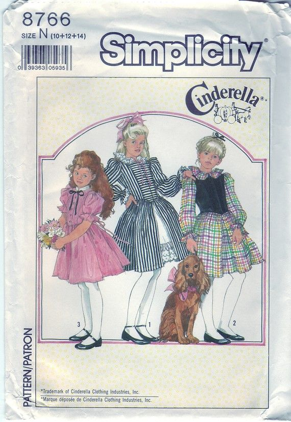 1988 Simplicity 8766 UNCUT Sewing Pattern Girl's Dress