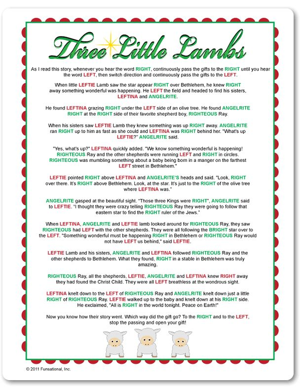 Printable Right & Left Three Little Lambs Stuff to Try