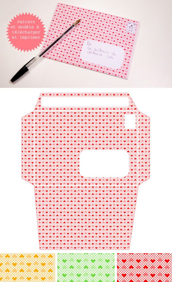 Envelope templates, Heart patterns and Envelopes on Pinterest
