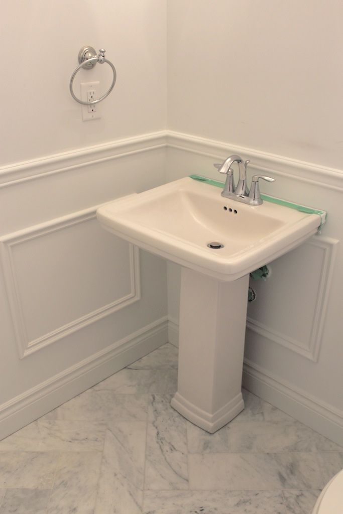 DIY Wainscoting – Powder room makeover using trim from Home Depot!  Frou Frou &