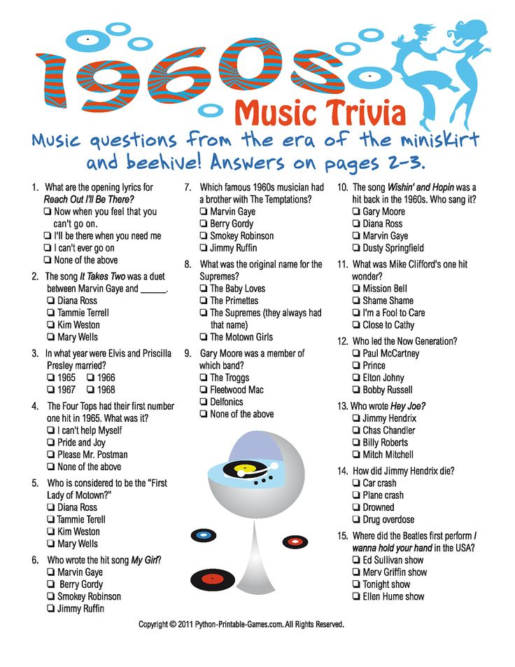 1960s Music Trivia Game 60's Decade Party Ideas