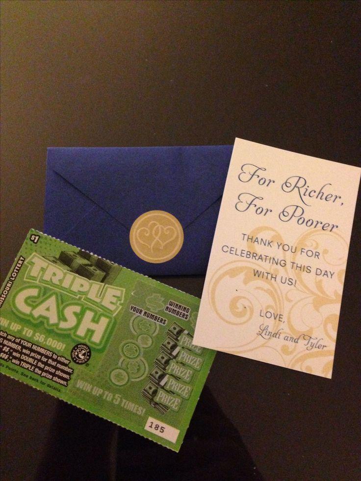 For Richer For Poorer Wedding Favors Blue Envelope From