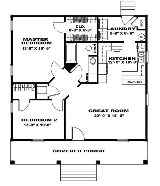 Two Bedroom House Plans Cottage