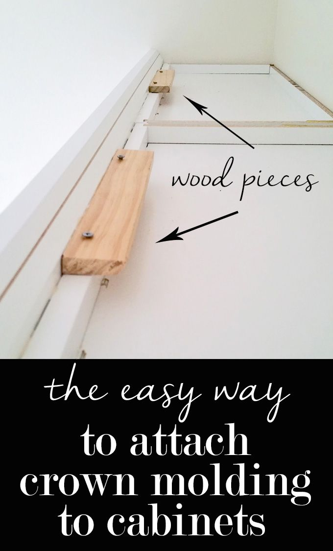 The easy way to attach crown molding to wall cabinets that don't reach the ceiling!  I wish all crown molding was this easy to