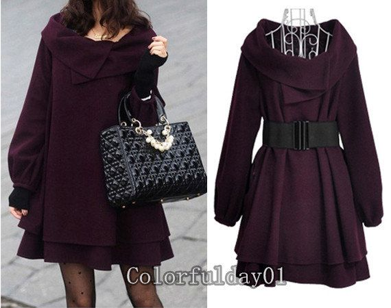 womens purple Princess style cape Coat jacket by colorfulday01, $49.99