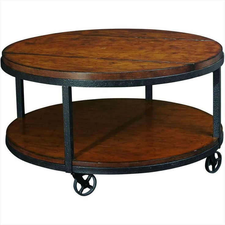 Round Industrial Metal Wood Coffee Table On Wheels