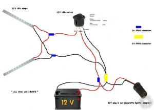 connecting led strip to 12 volt car battery power supply