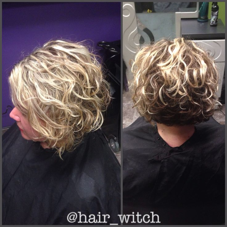 Natural Curly Short Inverted Blonde Bob Styled With