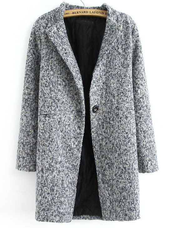 Love this Coat ! Love the Coat! Love the Color! Grey Long Sleeve Single Button Tweed Coat Winter Fashion.