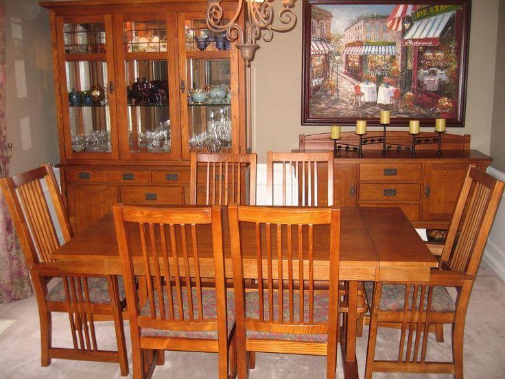 Bassett 9 Piece Medium Oak Dining Room Set Lighted Hutch Sideboard Mission Bassett Mission