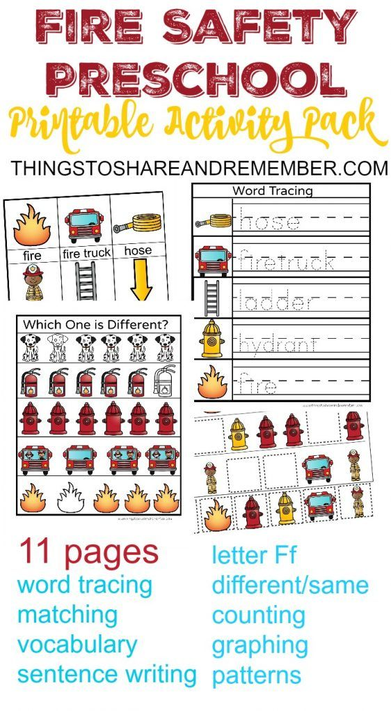 Fire Safety Preschool Printable Activity Pack Activities