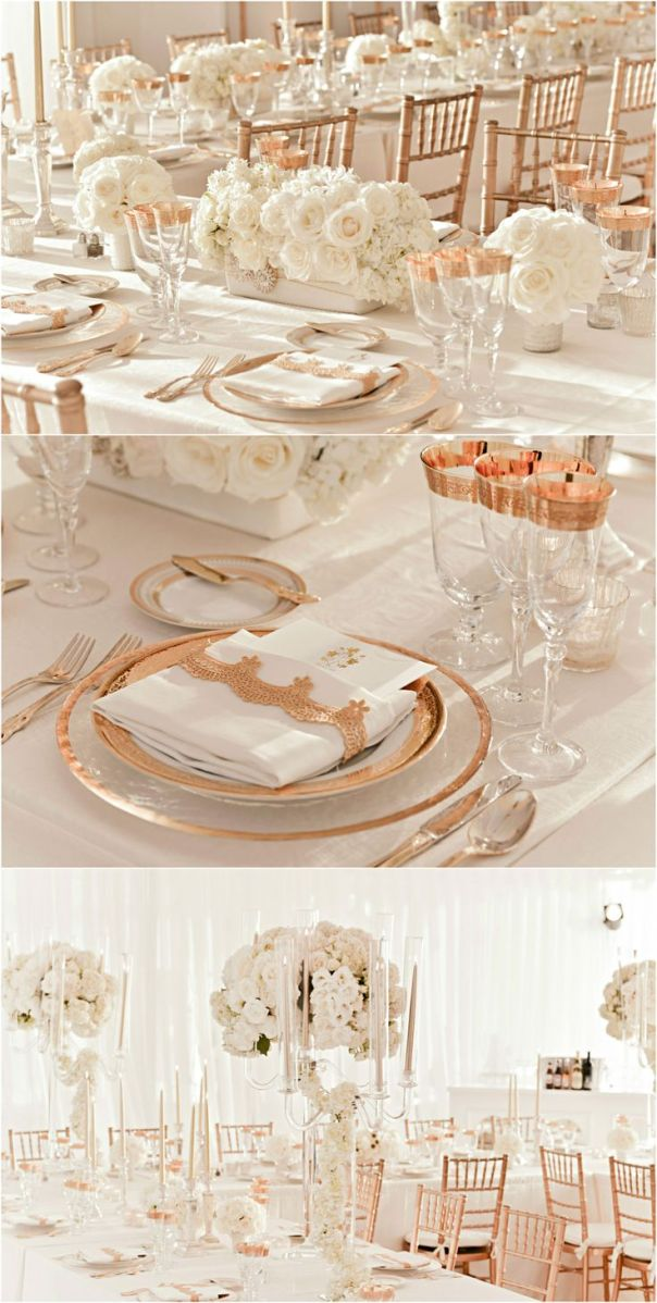 rose gold and ivory wedding reception decor The pic on top with the long low piece flanked by the two smaller side pieces is similar in scale to your design