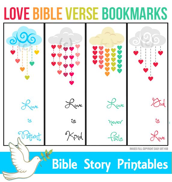 Love Bible Verse Bookmarks For Kids Holiday Printables