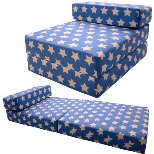 Gilda Single Chairbed Blue Stars Cotton Fold Out Chair Bed Guest Z Sofa
