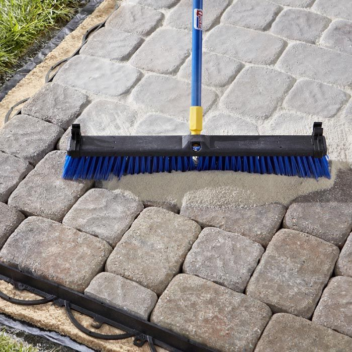 Sweeping Polymeric Sand into Paver Joints. DIY Pinterest