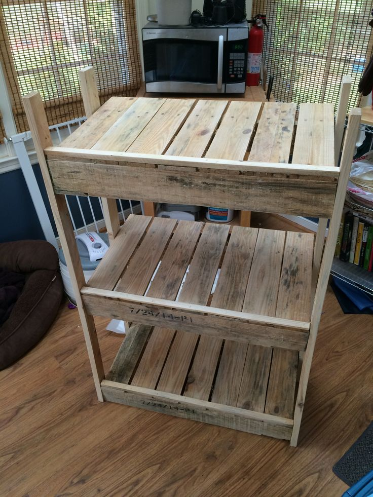 Tiered Laundry Basket Holder Made From Recycled Pallets