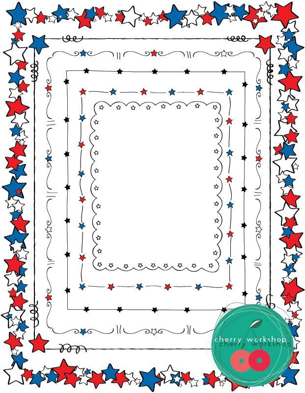 Star Borders Fourth Of July Black And Decoration