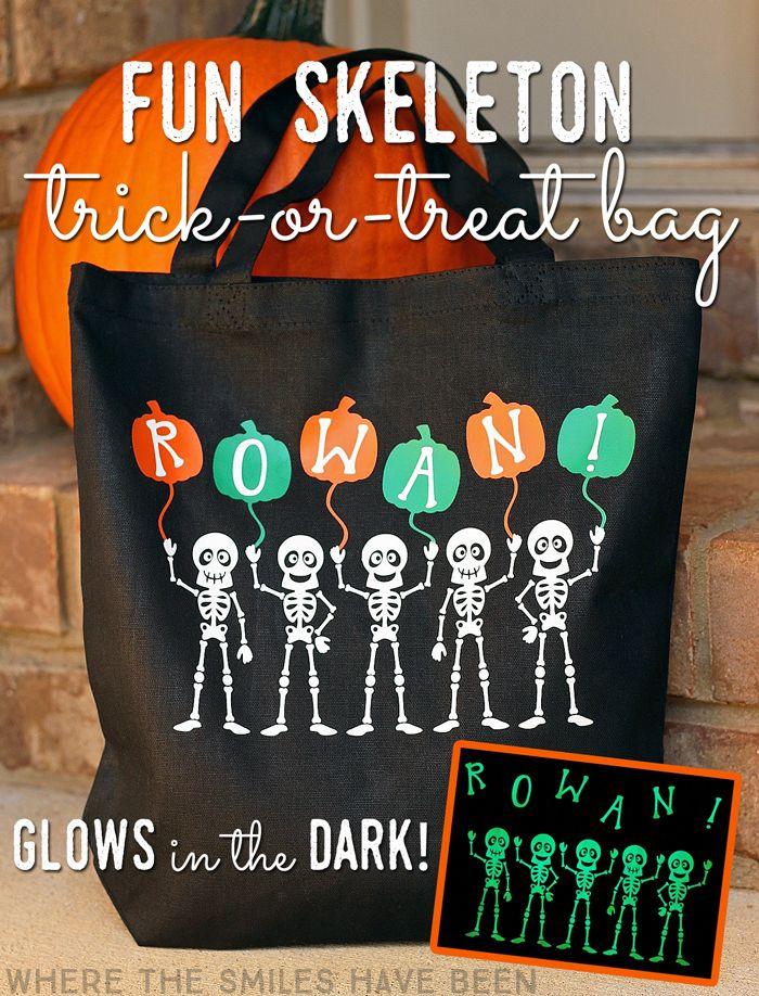 Fun Skeleton TrickorTreat Bag that GLOWS in the DARK