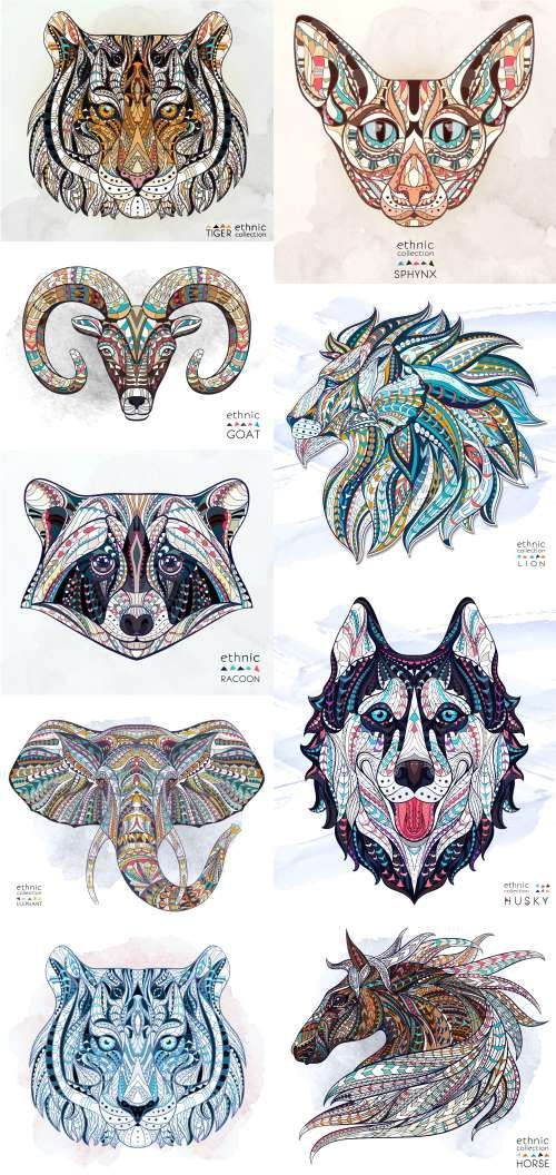 Ethnic Patterned Animal Head. Totem. Tattoo design. T-shirts – 19 Vector