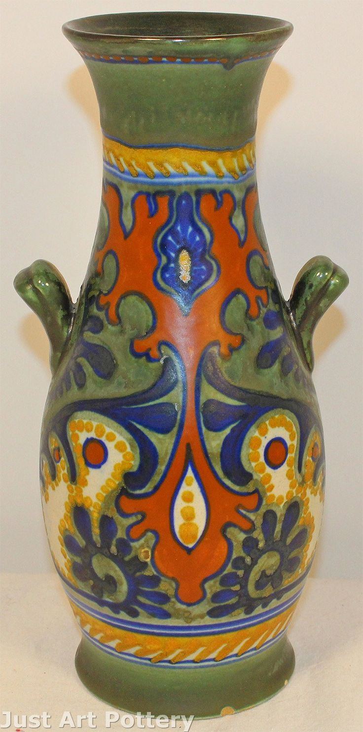 Gouda Pottery Rhodian Handled Vase from Just Art Pottery